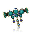 Hair Jewelry Crystal Rhinestone Vintage Metal Hair Clip Claw Clamp - Blue
