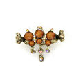 Hair Jewelry Crystal Rhinestone Vintage Metal Hair Clip Claw Clamp - Coffee