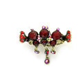 Hair Jewelry Crystal Rhinestone Vintage Metal Hair Clip Claw Clamp - Red