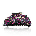 Hair Jewelry Floral Diamond Crystal Rhinestone Hair Clip Claw Clamp - Black