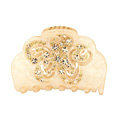 Hair Jewelry Floral Diamond Rhinestone Crystal Hair Clip Claw Clamp - Champagne