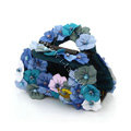 Hair Jewelry Flower Fabric Crystal Rhinestone Hair Claw Clip Clamp - Blue