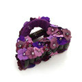 Hair Jewelry Flower Fabric Crystal Rhinestone Hair Claw Clip Clamp - Purple