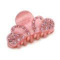 Hair Jewelry Sparkly Crown Crystal Rhinestone Hair Clip Claw Clamp - Pink