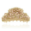Hair Jewelry Sparkly Crystal Full Rhinestone Hair Clip Claw Clamp - Champagne