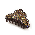 Hair Jewelry Sparkly Crystal Full Rhinestone Hair Clip Claw Clamp - Coffee