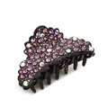 Hair Jewelry Sparkly Crystal Full Rhinestone Hair Clip Claw Clamp - Purple