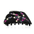 Hair Jewelry Tree leaf Rhinestone Crystal Hair Clip Claw Clamp - Black
