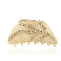 Hair Jewelry Tree leaf Rhinestone Crystal Hair Clip Claw Clamp - Champagne