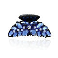 Luxury Hair Jewelry 3D Rhinestone Crystal Hair Clip Claw Clamp - Blue