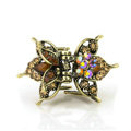 Retro Hair Jewelry Rhinestone Crystal Metal Hair Clip Claw Clamp - Champagne
