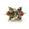 Retro Hair Jewelry Rhinestone Crystal Metal Hair Clip Claw Clamp - Multicolor