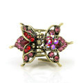 Retro Hair Jewelry Rhinestone Crystal Metal Hair Clip Claw Clamp - Red