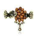 Retro Sparkly Crystal Peacock Metal Hair Barrette Clip Hair Claw Clamp - Coffee
