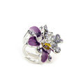 Sparkly Crystal Flower Metal Rhinestone Hair Clip Claw Clamp - Purple