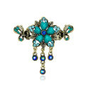 Vintage Sparkly Crystal Flower Gold Plated Metal Hair Barrette Clip Hair Accessory - Blue