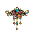 Vintage Sparkly Crystal Flower Gold Plated Metal Hair Barrette Clip Hair Accessory - Multicolor