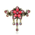 Vintage Sparkly Crystal Flower Gold Plated Metal Hair Barrette Clip Hair Accessory - Red