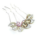 Elegant Hair Jewelry Crystal Rhinestone Flower Metal Hairpin Clip Comb - Champagne