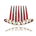 Elegant Hair Jewelry Crystal Rhinestone Pearl Resin Hair Pin Comb Clip - White