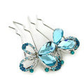 Elegant Hair Jewelry Rhinestone Crystal Butterfly Metal Hairpin Clip Comb - Blue