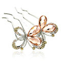 Elegant Hair Jewelry Rhinestone Crystal Butterfly Metal Hairpin Clip Comb - Champagne