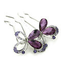 Elegant Hair Jewelry Rhinestone Crystal Butterfly Metal Hairpin Clip Comb - Purple
