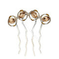 Elegant Hair Jewelry Rhinestone Crystal Circle Metal Hairpin Clip Comb - Champagne