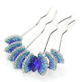 Elegant Hair Jewelry Rhinestone Crystal Metal Hairpin Clip Comb Pin - Blue