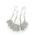 Elegant Hair Jewelry Rhinestone Crystal Metal Hairpin Clip Comb Pin - White