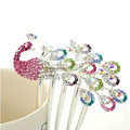 Elegant Hair Jewelry Rhinestone Crystal Peacock Metal Hairpin Clip Comb - Multicolor