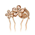 Hair Accessories Crystal Rhinestone Flower Metal Hair Pin Clip Comb - Champagne