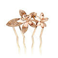 Hair Accessories Metal Crystal Rhinestone Flower Hair Pin Clip Comb - Champagne
