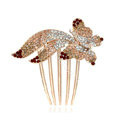 Hair Accessories Rhinestone Crystal Butterfly Metal Hair Pin Clip Comb - Champagne