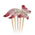 Hair Accessories Rhinestone Crystal Butterfly Metal Hair Pin Clip Comb - Pink