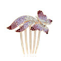 Hair Accessories Rhinestone Crystal Butterfly Metal Hair Pin Clip Comb - Purple