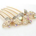 Hair Jewelry Crystal Rhinestone Butterfly Metal Hairpin Clip Comb Pin - Beige