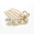 Hair Jewelry Crystal Rhinestone Clover Metal Hairpin Clip Comb Pin - Beige