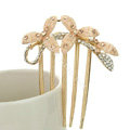 Hair Jewelry Crystal Rhinestone Clover Metal Hairpin Clip Comb Pin - Champagne