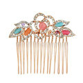Hair Jewelry Crystal Rhinestone Flower Metal Hair Pin Comb Clip - Multicolor