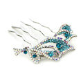 Hair Jewelry Crystal Rhinestone Flower Metal Hairpin Clip Comb Pin - Blue