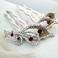 Hair Jewelry Crystal Rhinestone Flower Metal Hairpin Clip Comb Pin - Gold