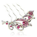 Hair Jewelry Crystal Rhinestone Flower Metal Hairpin Clip Comb Pin - Pink