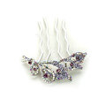 Hair Jewelry Crystal Rhinestone Flower Metal Hairpin Clip Comb Pin - Purple