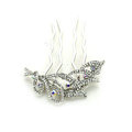 Hair Jewelry Crystal Rhinestone Flower Metal Hairpin Clip Comb Pin - White