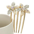 Hair Jewelry Crystal Rhinestone Flower Metal Hairpin Clip Pin Comb - Beige