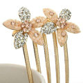 Hair Jewelry Crystal Rhinestone Flower Metal Hairpin Clip Pin Comb - Champagne