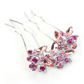 Hair Jewelry Crystal Rhinestone Lover Flower Metal Hairpin Clip Comb Pin - Pink
