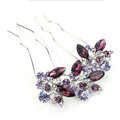 Hair Jewelry Crystal Rhinestone Lover Flower Metal Hairpin Clip Comb Pin - Purple