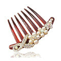 Hair Jewelry Crystal Rhinestone Pearl Bowknot Resin Hair Pin Comb Clip - Red